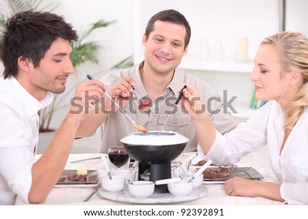 dinner with friends - stock photo