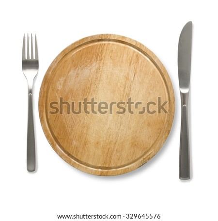 Dinner wooden  plate with cutlery: knife and fork, isolated on white - stock photo