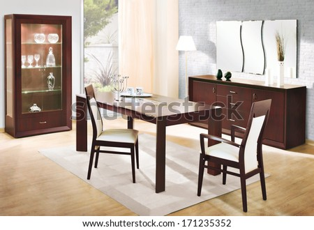 dinning room interiors - stock photo