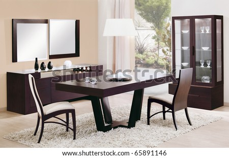 dinning room interiors - stock photo