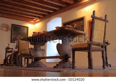 Dinning room old a medieval castle  - Predjama Slovenia - stock photo