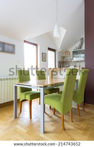 Dinning table in attic apartment