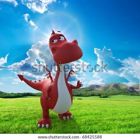 dino baby dragon walking on the field - stock photo