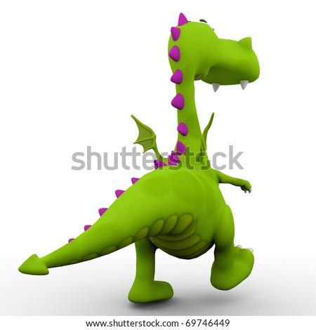 dino baby green dragon going away - stock photo