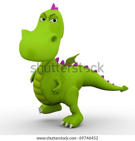 dino baby green dragon in a bad mood - stock photo