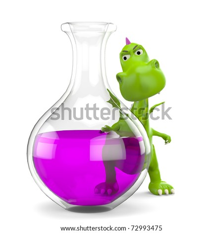dino baby green glossy dragon in mad scientist - stock photo