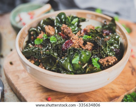 Dino Kale Sauteed with Ground Beef and Pork  - stock photo