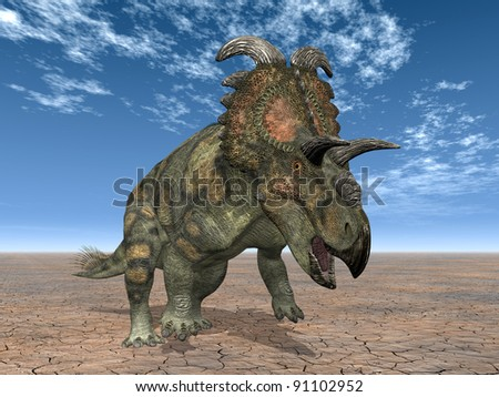 Dinosaur Albertaceratops Computer generated 3D illustration - stock photo