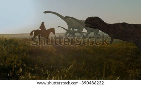 Dinosaur an peole. Prehistoric Jungle, landscape, valley with Dinosaurs. - stock photo