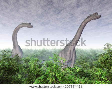 Dinosaur Brachiosaurus Computer generated 3D illustration - stock photo