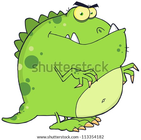 Dinosaur Cartoon Character. Raster Illustration.Vector version also available in portfolio. - stock photo