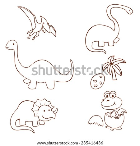 Dinosaur Cute Object Collection Hand Drawn Sketch Doodle - stock photo