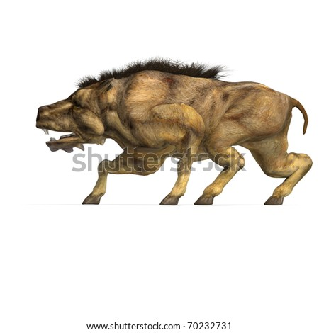 Dinosaur Daeodon Dinohyus. 3D rendering with clipping path and shadow over white
