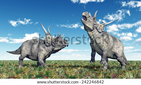 Dinosaur Diabloceratops Computer generated 3D illustration - stock photo