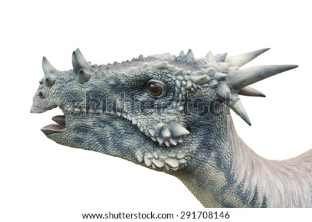 Dinosaur (Dracorex Hogwartsia) isolated on white. Lifesize model of a dinosaur that grew to be 2.7 metres long and weigh 60 kg. - stock photo