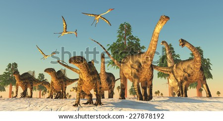 Dinosaur Drought Migration - Quetzalcoatlus flying reptiles join Tenontosaurus and Argentinosaurus dinosaurs on a migration in search of water. - stock photo
