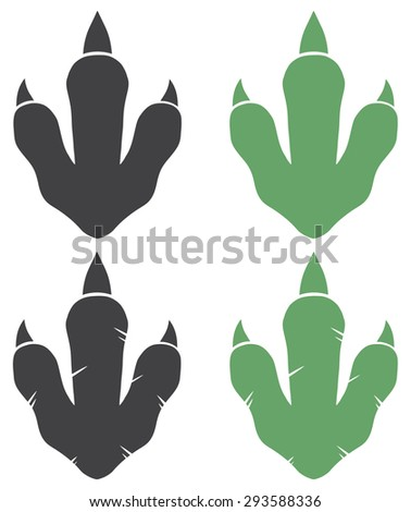 Dinosaur Footprint. Vector Illustration With Text Raster Collection Set - stock photo