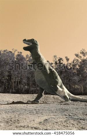 dinosaur in field - stock photo