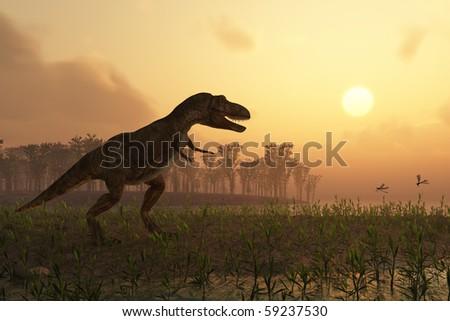 dinosaur in landscape - stock photo