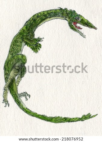 "Dinosaur letter C, artistic hi res drawing handmade illustration of Compsognathus  (Greek for ""pretty jaw"") The size of a chicken, but much meaner - stock photo"
