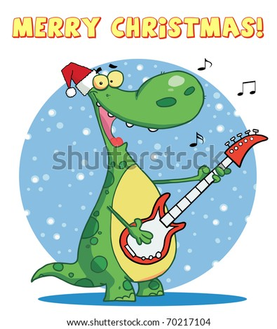 Dinosaur plays guitar with santa hat with merry christmas sign - stock photo