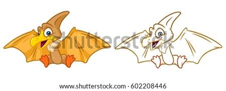 Pterodactyl Dinosaur Flying Stock Vector 110025278 Shutterstock
