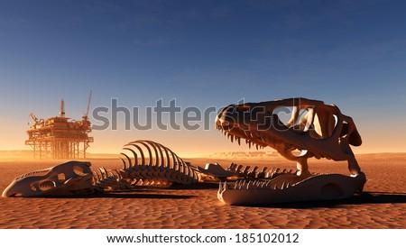 Dinosaur skeleton and the oil station in the desert. - stock photo