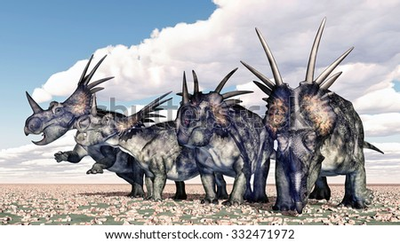 Dinosaur Styracosaurus Computer generated 3D illustration - stock photo
