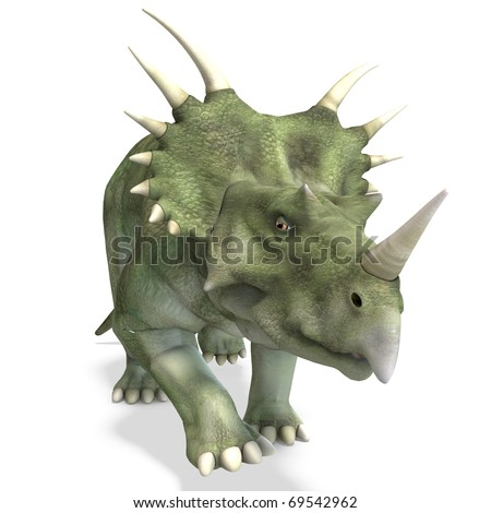 Dinosaur Styracosaurus. 3D rendering with clipping path and shadow over white