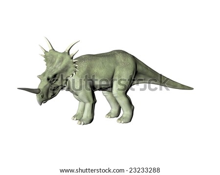 Dinosaur Styracosaurus isolated over a white background