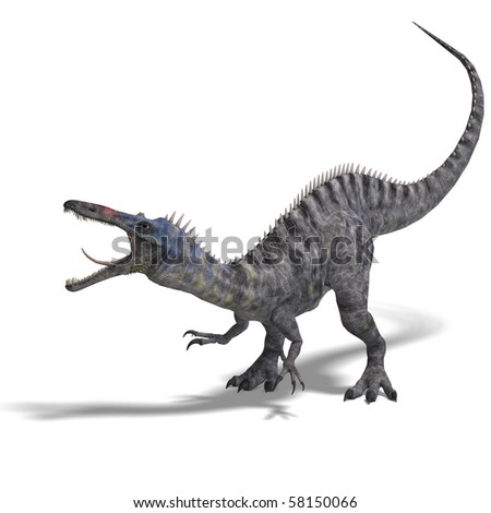 Dinosaur Suchominus. 3D rendering with clipping path and shadow over white - stock photo