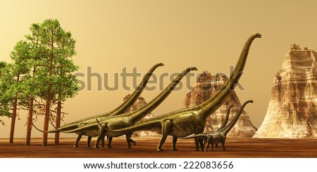 Dinosaur Sunset - A herd of Mamenchisaurus dinosaurs make their way to better feeding grounds during the Jurassic Era.
