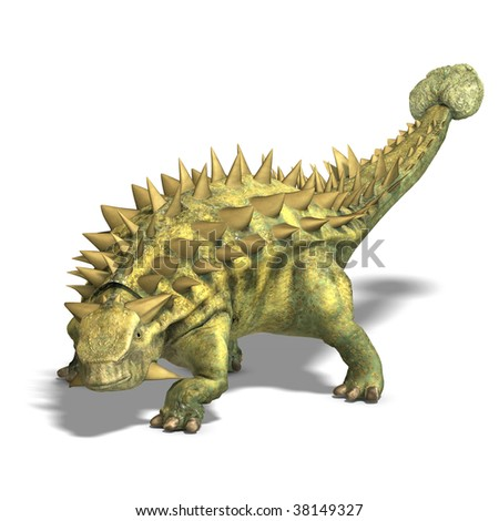Dinosaur Talarurus. 3D render with clipping path and shadow over white - stock photo