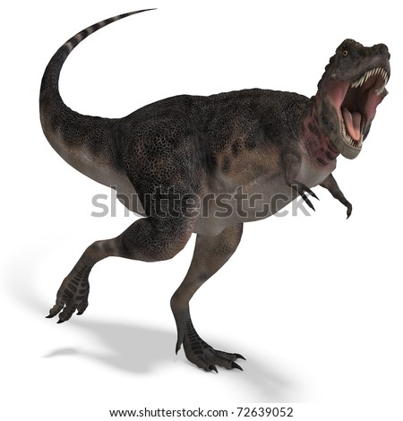 Dinosaur Tarbosaurus. 3D rendering with clipping path and shadow over white - stock photo