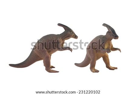 Dinosaur toys.Isolated dinosaur toys profile and angle view.  - stock photo