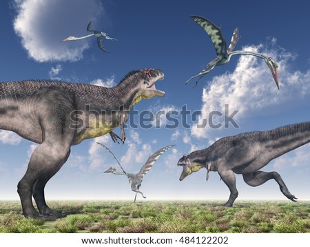 Dinosaur Tyrannotitan attacks pterosaur Quetzalcoatlus Computer generated 3D illustration