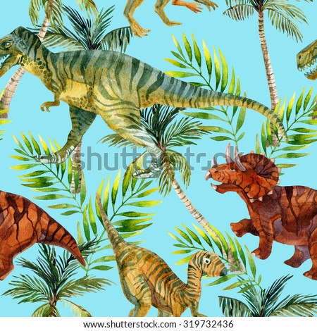 Dinosaur watercolor seamless pattern. Dinosaurs in jungles. Hand painted illustration - stock photo