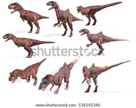 dinosaurs collection. Carnotaurus and Concavenator - stock photo