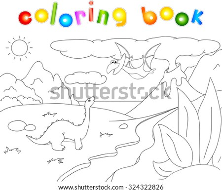 Dinosaurs diplodocus and pterodactyl on a background of  prehistoric nature: mountains, sea and ferns. Volcano spews lava. Coloring book.  - stock photo