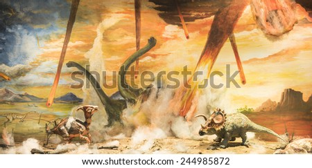 Dinosaurs escaping or dying because of heat and fire due to a big meteorite crash - stock photo