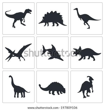 Dinosaurs icons set - stock photo