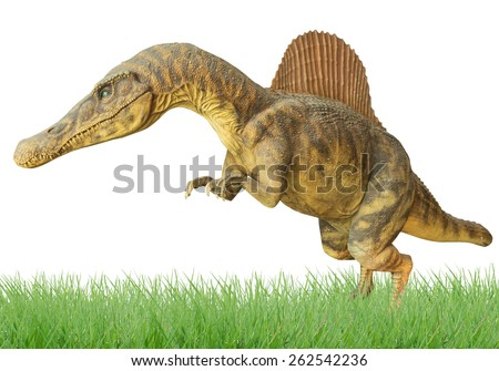 Dinosaurs in the meadow, isolated on a white background. - stock photo