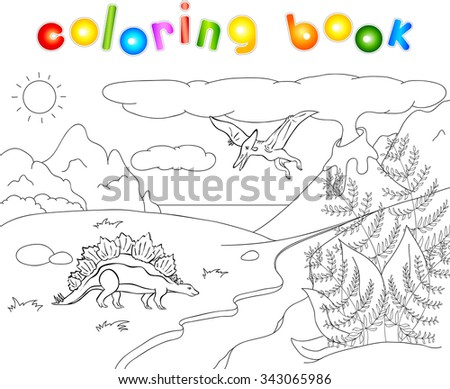 Dinosaurs stegosaurus  and pterodactyl on a background of  prehistoric nature: mountains, sea and ferns. Volcano spews lava. Coloring book.  - stock photo