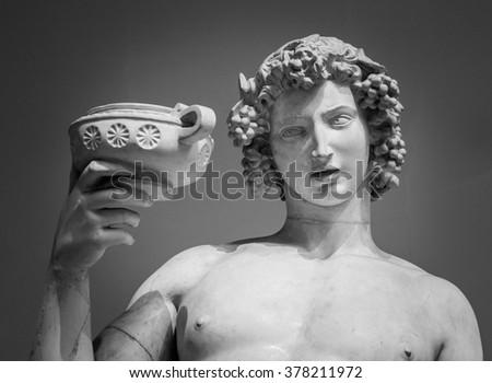 Dionysus Bacchus Wine statue portrait  - stock photo