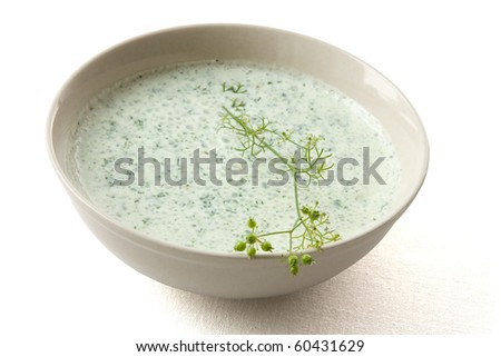 Dip made from yoghurt and herbs with white background and shadow. - stock photo