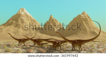 Diplodocus Dinosaur Herd - A herd of Diplodocus dinosaurs cross a desert on their annual migration to a warmer region. - stock photo