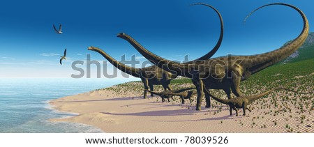DIPLODOCUS HERD - A Diplodocus herd comes down to a lake for a drink of water.