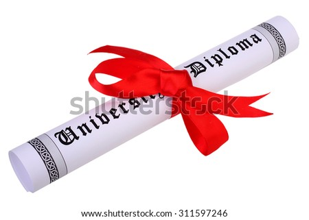 Diploma, close up of paper scroll with red ribbon isolated on white background - stock photo