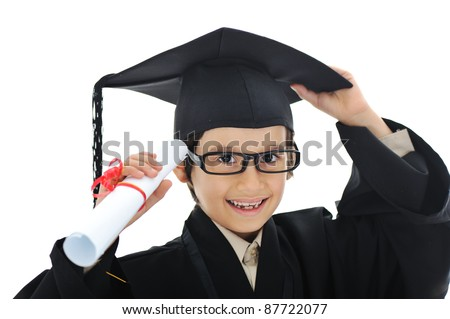 Diploma graduating little student kid, successful elementary school - stock photo