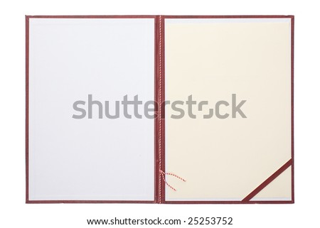 diploma - open blank certificate cover 1 - stock photo